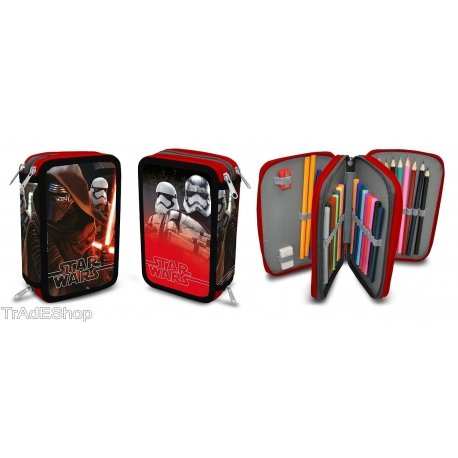 Trade shop traesio®® astuccio 3 zip 3 scomparti star wars guerre stellari triplo completo accessori
