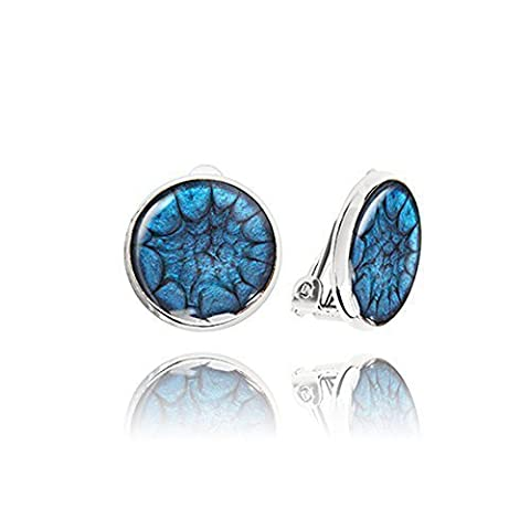 Round Sapphire Blue Clips Earrings for Beloved