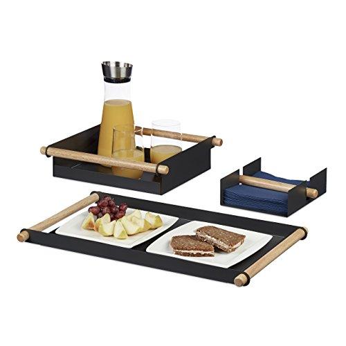 Relaxdays Serviertablett Set, 3-teilig, Metall, Holzgriffe, 2 Tabletts, 1 Serviettenhalter, verschiedene Größen, grau (Halter Flache Serviette Metall)