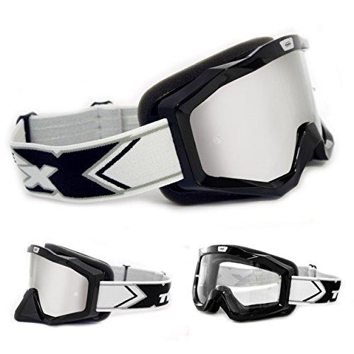 TWO-X EVO V2 Crossbrille schwarz Silber verspiegelt MX Brille Motocross Enduro Spiegelglas Motorradbrille Anti Scratch MX Schutzbrille
