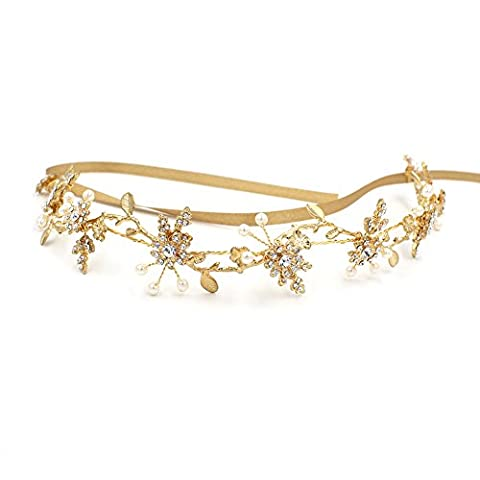 Élégant Doré branches Deco Bandeau Oumoutm Mariage Fleur Coiffe Couronne avec ruban