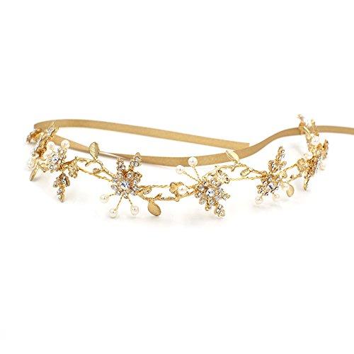 Elegantes Gold Zweige Deco Stirnband oumoutm Braut Hochzeit Blume Kopfbedeckung Krone mit Schleife (Die Griechische Oder Die Römische Prinzessin Kostüme)