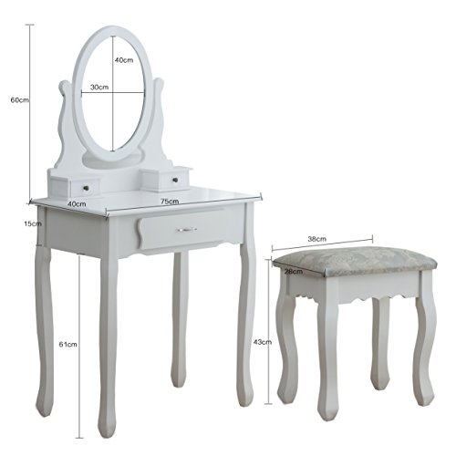 CherryTree Furniture Dressing Table 3-Drawer Makeup Dresser Set with Stool Oval Mirror, White