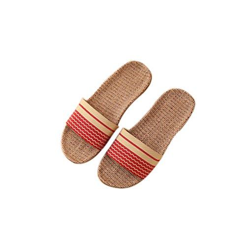TELLW Solid Couleur Velours Corail Épaississement Chaud Plancher en Bois Pantoufles D'Hiver et en Plein Air Coton-Aimant les Femmes et les Pantoufles des Hommes Rouge