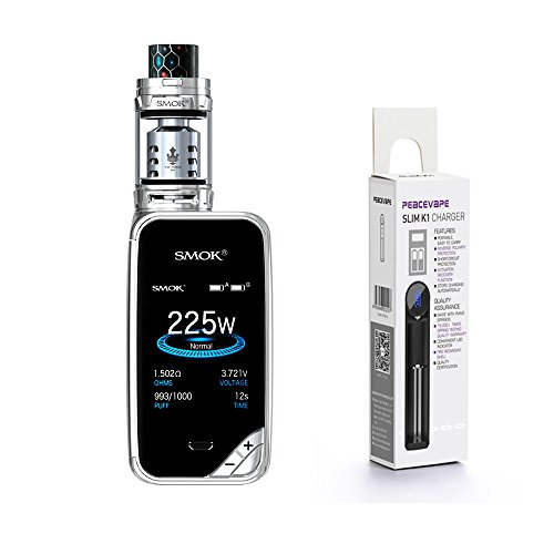 E-Zigarette Smok X Priv Kit mit TFV12 Prince Tank 225 W 2mL (Chrom) mit Peacevape TM 18650 Ladegerät