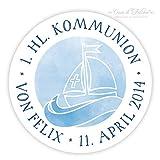 Personalisierte Aufkleber zur Kommunion Boot | 40mm, rund | 20, 50, 100, 200 oder 1.000 Stück