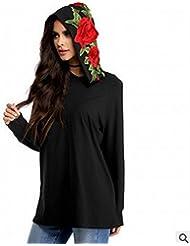 Europa Y Los Estados Unidos de Ventas de Alta Oto?o de Las Mujeres 's de Ropa de Flores Grandes Bordados Encapuchados de Manga Larga Suéter Pullover Hoodies,Negro,L