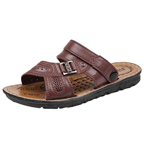 Herren Hausschuhe LUCKYCAT Herren Rutschfeste Strandschuhe Herrenschuhe Cool Slippers Beach Shoes Sandalen Zehentrenner Hausschuhe (CN:40=EU:39, Braun)