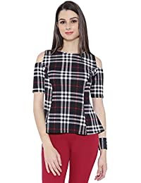 Chimpaaanzee women Black & White Checkered Cold shoulder Top