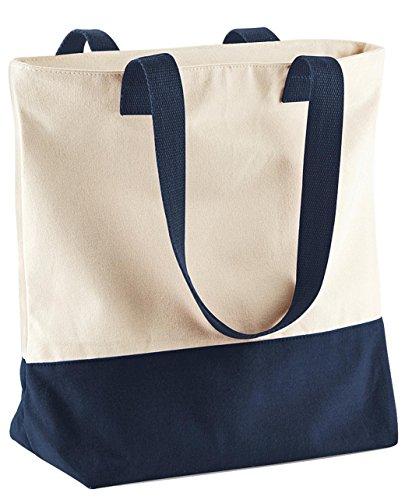 Bagbase Westcove Tela Borsa donna elegante cotone lavoro da viaggio spalla borsa Natural/ French Navy