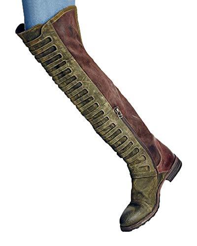 Minetom Damen Stiefel | Bequeme Overknee High Heels | Blockabsatz Wildlederoptik Grün 38 EU