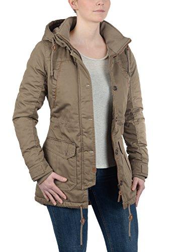 DESIRES Annabelle Damen Übergangsparka Parka Übergangsjacke Lange Jacke mit Kapuze, Größe:XS, Farbe:Shitake Br (5323) - 3