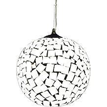 Lampara colgante habitación o salón | Bola cristal, mosaico, de cuadrados blancos | 1 luz | Ideal para habitación o salón | Admite LED | Elegante, moderna, clásica, diseño