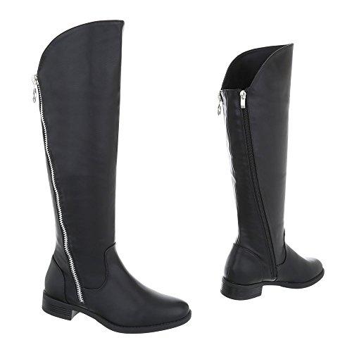 Ital-Design Chaussures Femme Bottes et Bottines Bloc Bottes Classique Noir