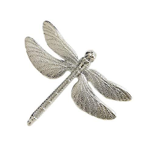 Dragonfly Serviette (Yalulu 6 Stück Serviettenringe Set, Dragonfly Serviettenhalter Serviette Halter für Hochzeit Banquet Geburtstag Weihnachten Taufe Tisch Dekoration (Silber))