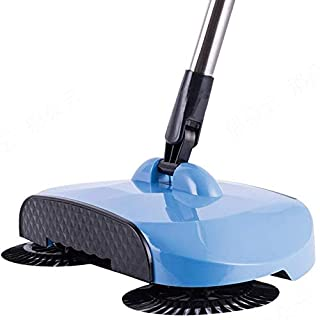 GEZICHTA Household Lazy Automatic Hand Push Sweeper Broom Robot, 360 Degree Rotary Magic Manual Floor Dust Sweeper Extendable Besom Broom Easy Sweep Without Electric Dustpan Dustpan Trash Bin (blue)