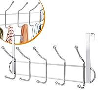 Evelyn Living 10 Over The Door Hooks Chrome Wash Room Coat Hanger Clothes Towel Storage