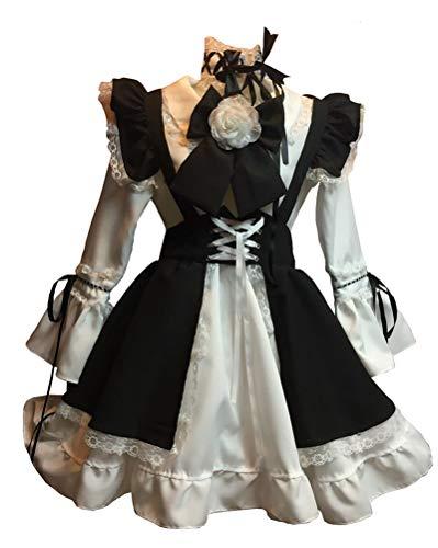 Maid Frauen Kostüm Französisch - FHSIANN Erwachsene Frauen französisch Maid kostüm KreuzSpitzeBogen DressDamenschwarz Anime Cosplay kawali Halloween Langarm Outfit für mädchen XL