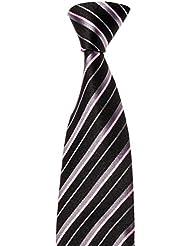 MAILANDO Herren Krawatte mit Streifen, schwarz – rosa, sehr elegant