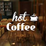 Adesivo per vetrina HNXDP per caffetteria, adesivo per porta finestra per caffetteria calda, decorazione pervetrina/ negozio/caffè42x25cm