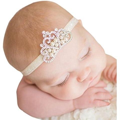 Oyedens Fotografia Bebes Newborn Photography Props Disfraz Infantil Adecuadocorona Banda Para El Cabello La Princesa Del Bebé Cristal Perla Corona Venda Regalos para recién nacidos