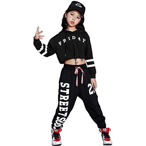 LOLANTA Niñas Mordern Jazz Dance Outfit Kids Street Dancewear Sudaderas con Capucha Pop Dance Costume (8-9 años, Negro)