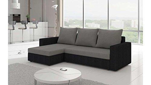 Justhome livio i divano angolare divano letto microfibra (lxlxa): 150x237x85 cm grigio nero penisola a sinistra