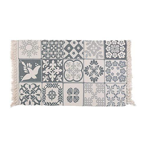 Handgefertigte Bodenmatte, Baumwolle gedruckt Eingangsbereich Teppich, maschinenwaschbare Fuß Pad, Anti Slip Zimmer Tee Tisch Fuß Teppich für Schlafzimmer Nacht