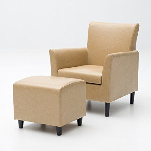 Esszimmerstühle Moderne PU Ledersofa für Wohnzimmer mit Fußstütze, Kleinen Raum konfigurierbare Couch für Schlafzimmer Büro - Beige (Farbe : SCHWARZ)