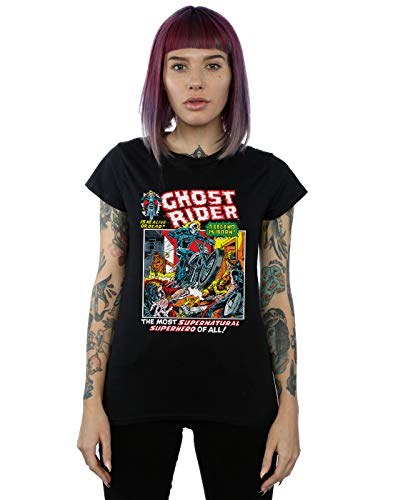 Marvel Damen Ghost Rider T-Shirt Schwarz X-Large