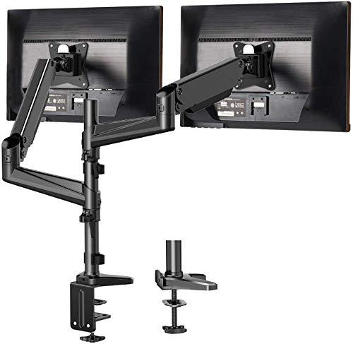 HUANUO Aluminium Monitor Halterung 2 Monitore Höhenverstellbar, Gasdruckfeder Arm 360° Drehbar für 13 bis 32 Zoll Bildschirme, 2 Montageoptionen, VESA 75/100