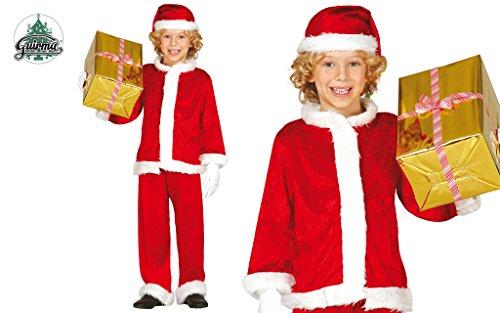 Guirca costume babbo natale bambino 7-9 anni, velluto, rosso