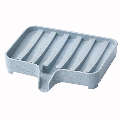 (Gmgqsago Seifenbox für Badezimmer, Spülbecken, Schwamm, Abtropfschale, Behälter – Blau blau)