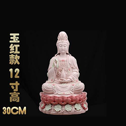 Buddha Statue Für Glück, Reichtum Und Glück, Handgemachte Chinesische Keramik Weiss Und Rosa Porzellan Sitzen Guanyin Figurine Für Zen Meditation, Big Kwan Yin Für Auto Home Schreibtisch Einrich
