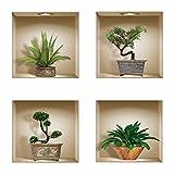 The Nisha Art Adesivi 3D Magici da Muro in Vinile Sticker Decalcomania Fai-da-Te, Set da 4, Bonsai e piante verdi