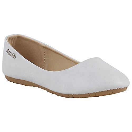 Klassische Damen Ballerinas Lederoptik Modische Schuhe Freizeit Hellgrau Glatt