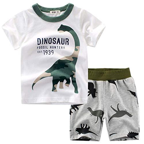 wuayi  Jungen Kleidung, Baby Jungen Kurzarm Dinosaurier Camo Print T-Shirt und Shorts Kurze Hose Oberteile Tops Outfits 18 Monate - 7 Jahre Baby-camo Socken