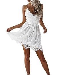 La mujer vestido,Sonnena ❤ ❤ ❤ Bohemian blanco impresión hueca de encaje vestido Suelto suave vestido de manga…