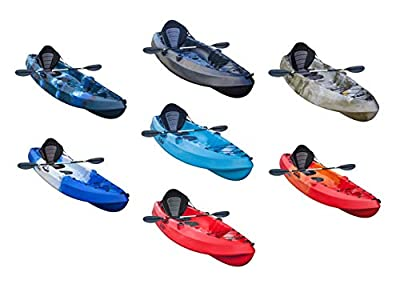 GoSea Pioneer XL Kayaks Single Sit On Top Fishing Kayak Ultimate Bundle with Paddle and Ultimate Padded Seat for One Man | Premium Solo Canoe for Beginners with 2 Rod Holders