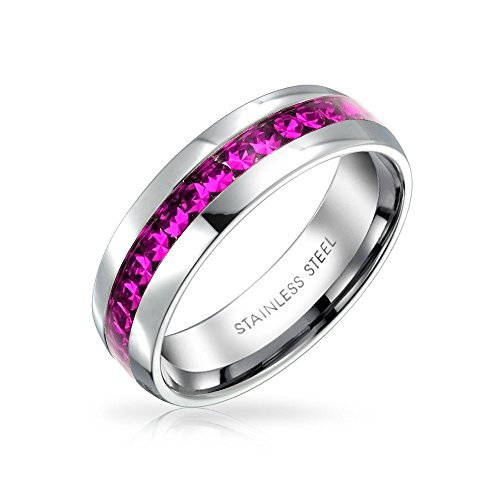 Bling Jewelry Oktober Monat Dunkel Rosa Farbe Kanal EIN Kristall Der Ewigkeit Band Ring Für Damen Silber Getönt Aus Rostfreiem Stahl