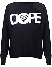 Womens New Dope Diamond Logo Printed Ladies Long Raglan Sleeves Crew Neckline Sweatshirt Pullover Jumper Top