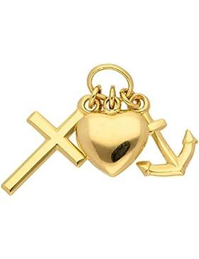 Gold 8 k ( 333 ) Motiv - Anhänger - Glaube - Liebe - Hoffnung - B. 7,7 mm - H. 11,8 mm