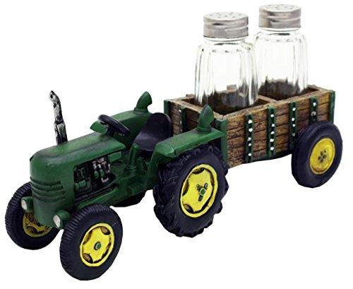 Grün Traktor und Wagon Salt & Pepper Shaker Set-Farm Decor