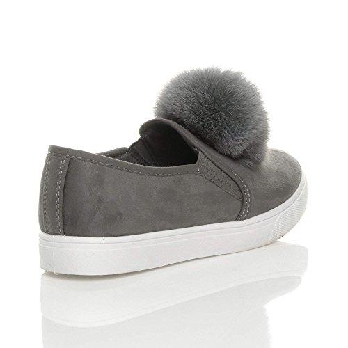 Damen Flach Pom Pom Pelz Plimsolls Mode Trend Sneaker Turnschuhe Größe Grau