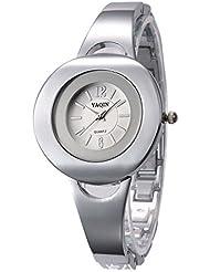 Moda Acero Inoxidable Reloj De Cuarzo Para Mujeres,Blanco