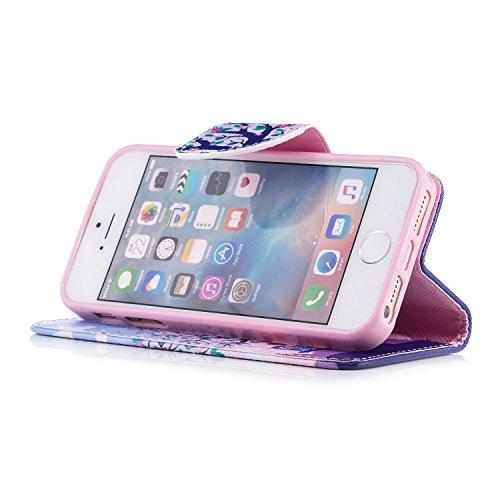 iPhone SE hülle, Voguecase Kunstleder Tasche PU Schutzhülle Tasche Leder Brieftasche Hülle Case Cover (Waldkauz 01) + Gratis Universal Eingabestift Kiss My Ass