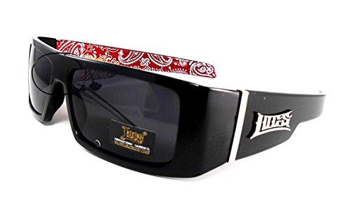 Locs Schwarz Harcore 58 Bandana Red Innere Sonnenbrille + Free-Mikrofaser-Beutel 1 Maße: 1,5 Stunden x 5.5W Schwarz Rot