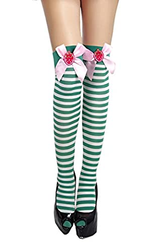 Charmian Women's Christmas Stripe Thigh High Stockings with Strawberry Bows Green/White one-size