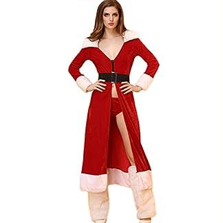 Vestidos XL- Disfraz de Navidad Sra. Santa Claus Capa Terciopelo con Capucha Cabo Lujo con cinturón para Mujer niña