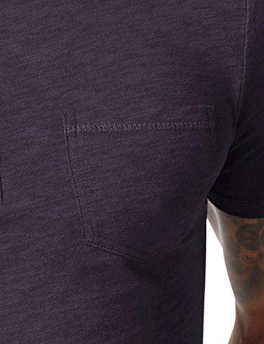 HEMOON Herren T-Shirt Kurzarm Shirt mit Grandad-Ausschnit 100% Baumwolle Henley Neck Blau